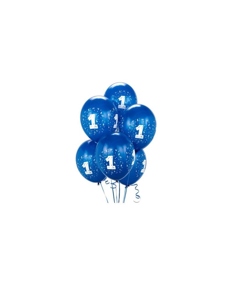 BALONY niebieskie matowe 1 URODZINY roczek 25cm