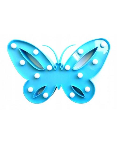 LAMPKA 14xLED niebieski MOTYL 3D na baterie