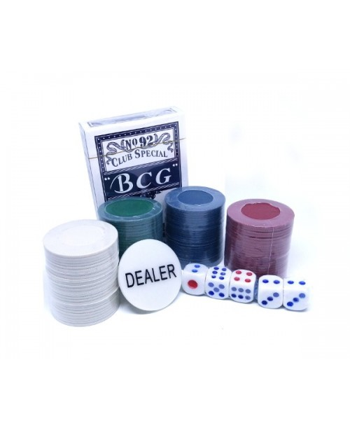Zestaw do POKERA kart+żetony+kostki GRA POKER