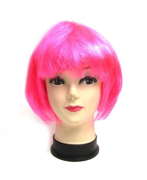 Różowa krótka peruka z grzywką