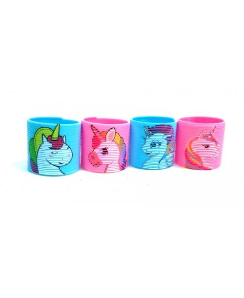ZESTAW 4 mini kolorowych SPRĘŻYNEK Unicorn JEDNOROŻEC