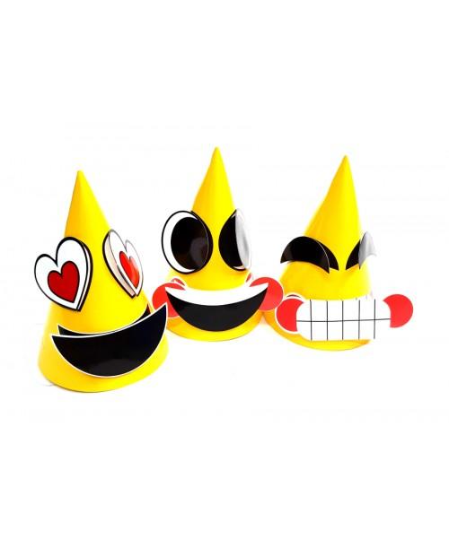 3 szt. ŻÓŁTE urodzinowe 3D czapki EMOJI 16cm