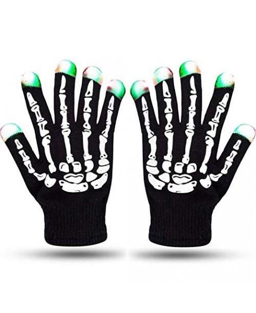 Rękawiczki ledowe szkielet KOŚCIOTRUP świecące czarne