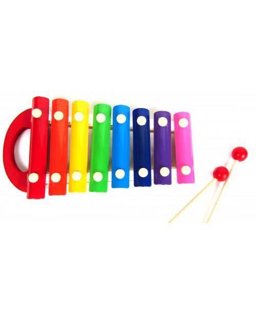 CYMBAŁKI Drewniane Edukacyjne Kolorowe 8 Tonów