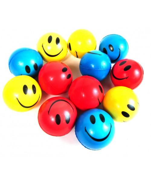 Piłki antystresowe uśmiech emoji 6cm 12szt.