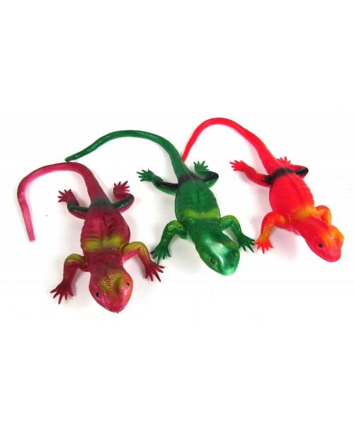 3szt. Jaszczurki Gumowe Kolorowe Zwierzątka Gady