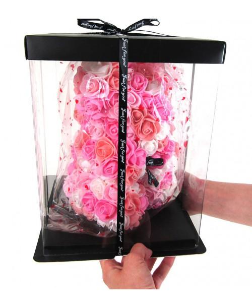 Miś z róż w boxie Rose Bear prezent 28 cm