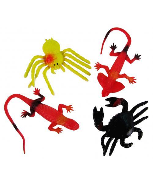 4szt. Gumowe Kolorowe Zwierzątka Gady Pająk Jaszczurka
