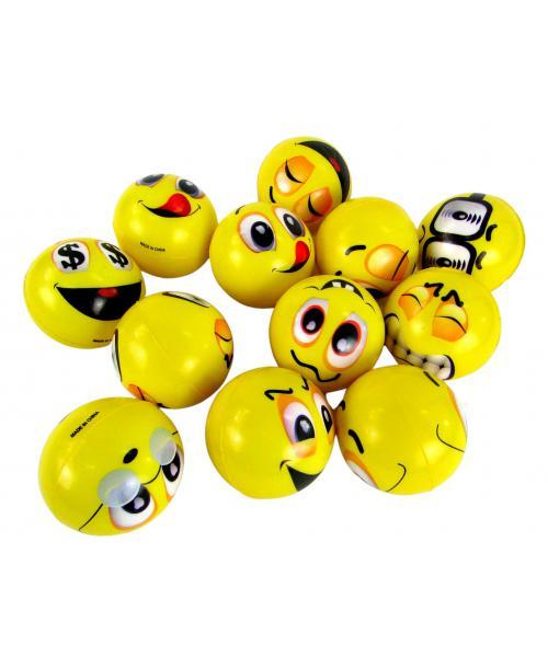 Piankowe Piłeczki Antystresowe emoji emotikony 6cm 12szt .