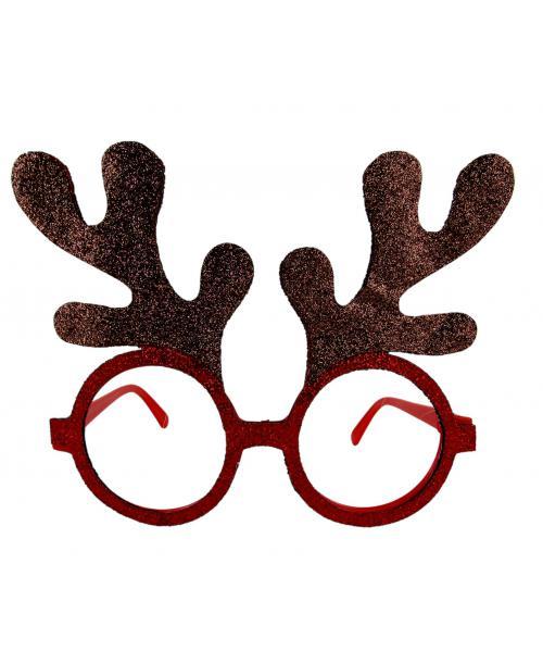 OKULARY świąteczne uszy renifera brokatowe 12 SZT