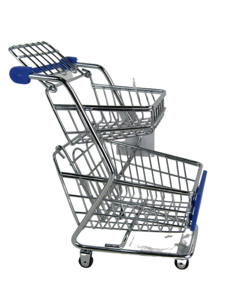 Dwupoziomowy miniaturowy wózek na zakupy zabawka dla lalek