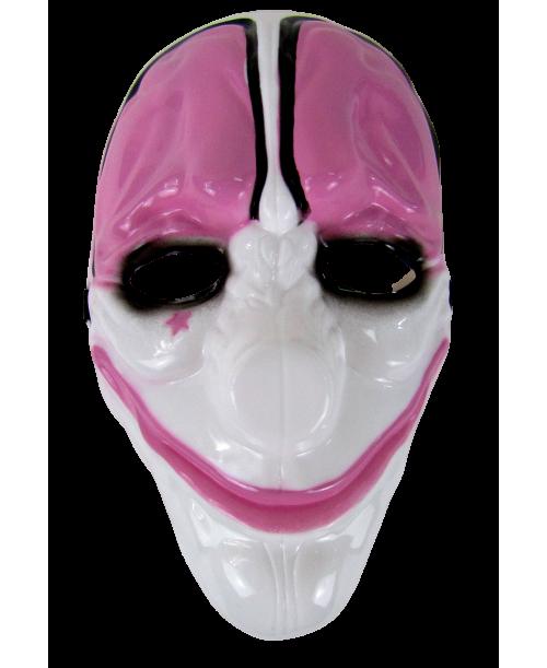 Maska karnawałowa klaun różowo-biała