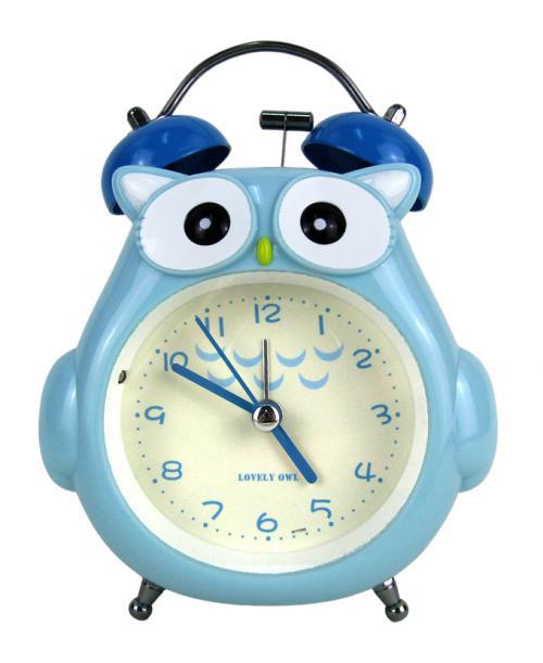 Niebieski budzik zegarek sówka cichy dziecięcy