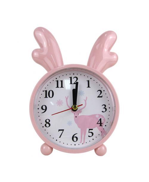 Różowy budzik zegarek z rogami łosia