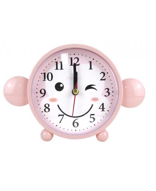 Różowy budzik zegarek cichy płynący mechanizm