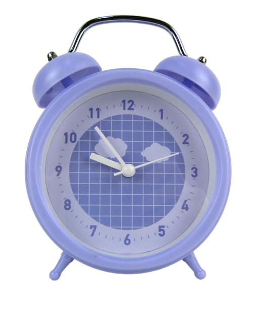 Fioletowy okrągły budzik zegarek