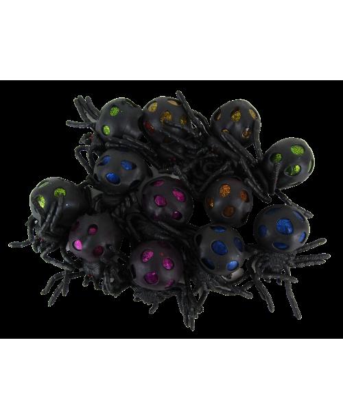 Gniotki antystresowe squish ball pająki brokatowe 12szt.