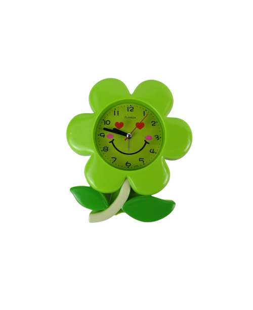 Zielony budzik kwiat  z płynącym mechnizmem