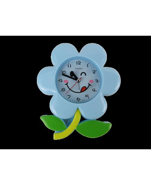 Niebieski budzik kwiat  z płynącym mechnizmem