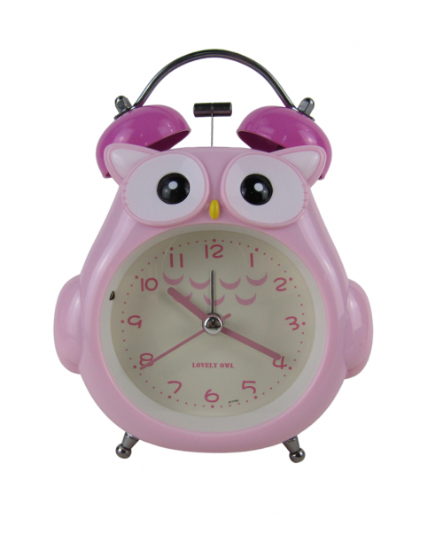 Różowy budzik zegarek sówka cichy dziecięcy