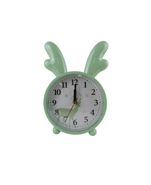Zielony budzik zegarek z rogami łosia