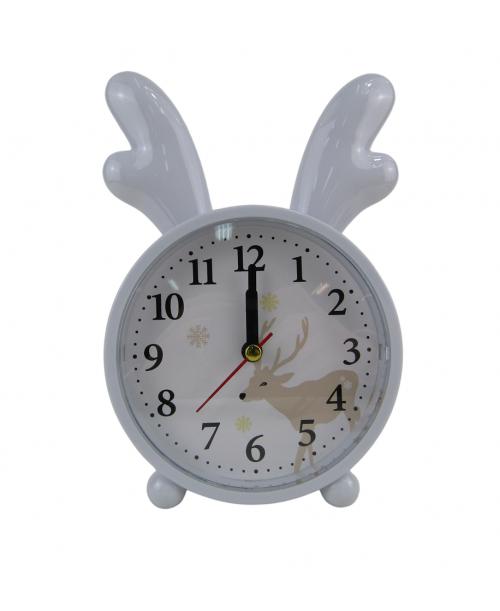 Biały budzik zegarek z rogami łosia