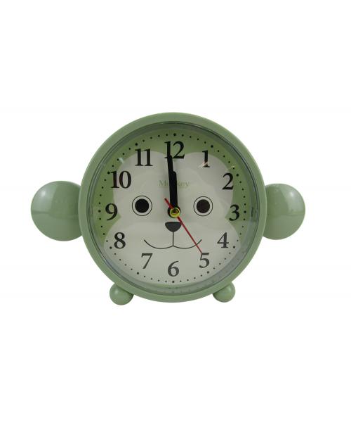 Zielony budzik zegarek cichy płynący mechanizm