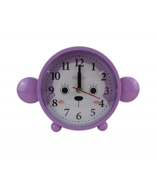 Fioletowy budzik zegarek cichy płynący mechanizm