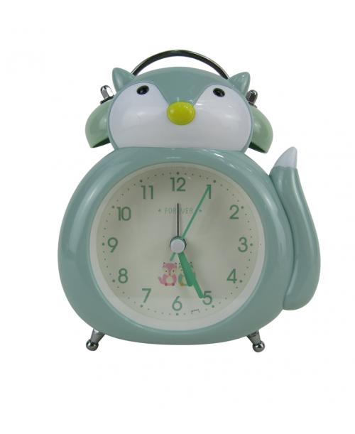 Zielony zegarek budzik stojący lisek płynący mechanizm
