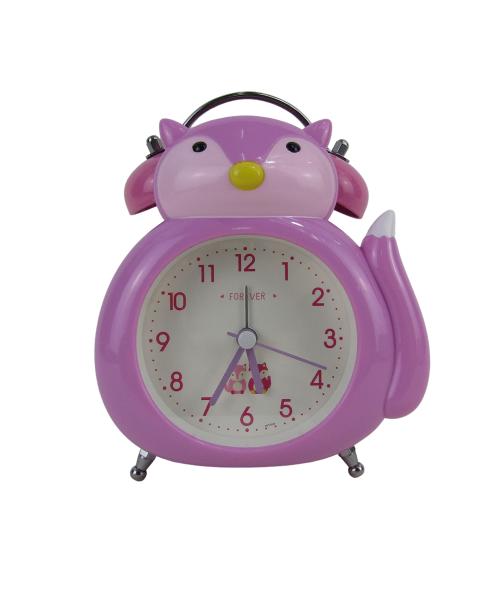 Fioletowy zegarek budzik stojący lisek płynący mechanizm