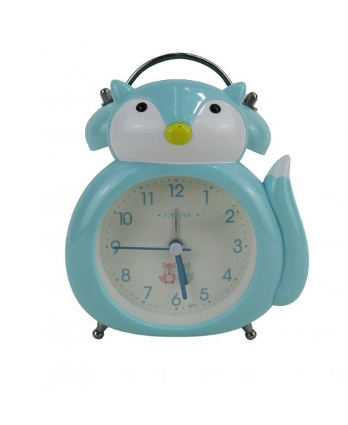 Niebieski zegarek budzik stojący lisek płynący mechanizm