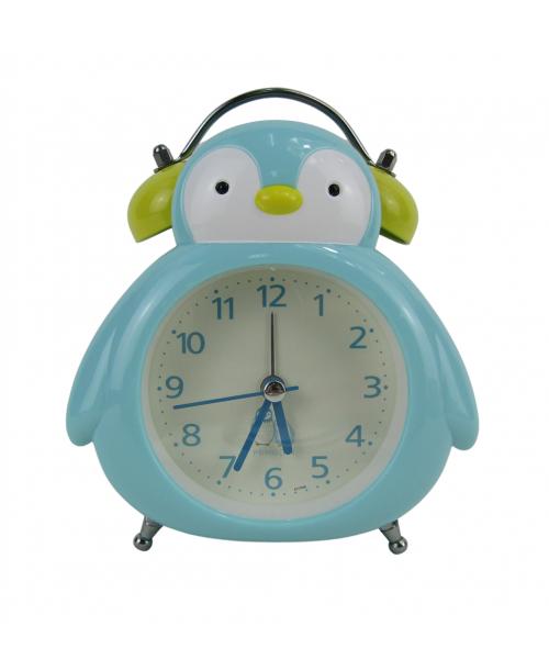 Niebieski zegarek budzik stojący pingwin płynący mechanizm