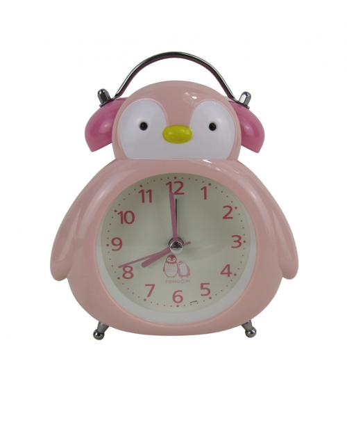 Różowy zegarek budzik stojący pingwin płynący mechanizm