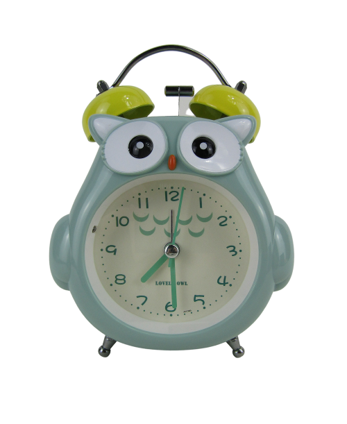 Zielony budzik zegarek sówka cichy dziecięcy