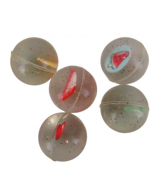 Piłeczki KAUCZUKOWE antystresowa piłeczka brokatowa OWOCE 2,5cm 5szt