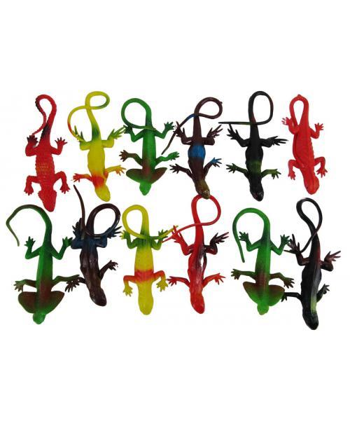 12szt. Gumowe Kolorowe Zwierzątka GADY- jaszczurka