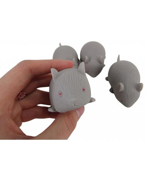 4 x gumowa zabawka piszcząca MYSZ