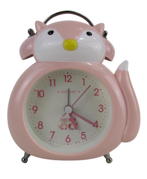 Różowy budzik zegarek lisek cichy dziecięcy