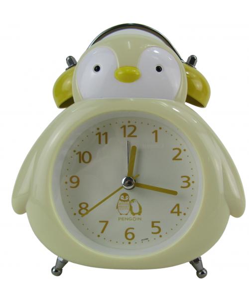 Żółty budzik zegarek pingwin cichy dziecięcy