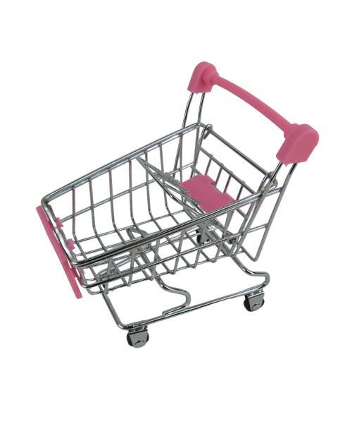Wózek Sklepowy dla lalek na zakupy 12 cm różowy